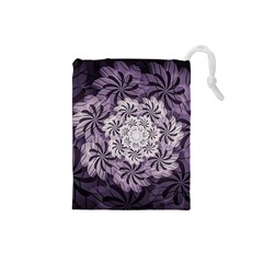 Fractal Floral Striped Lavender Drawstring Pouches (small)