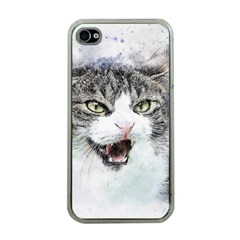 Cat Pet Art Abstract Watercolor Apple Iphone 4 Case (clear)
