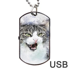 Cat Pet Art Abstract Watercolor Dog Tag Usb Flash (two Sides)