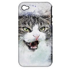 Cat Pet Art Abstract Watercolor Apple Iphone 4/4s Hardshell Case (pc+silicone)