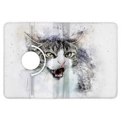 Cat Pet Art Abstract Watercolor Kindle Fire Hdx Flip 360 Case
