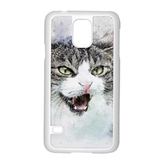 Cat Pet Art Abstract Watercolor Samsung Galaxy S5 Case (white)