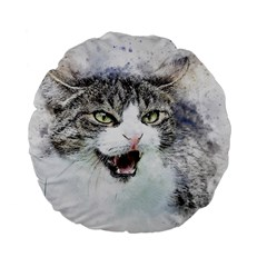 Cat Pet Art Abstract Watercolor Standard 15  Premium Flano Round Cushions