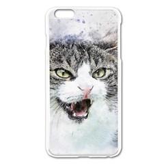 Cat Pet Art Abstract Watercolor Apple Iphone 6 Plus/6s Plus Enamel White Case