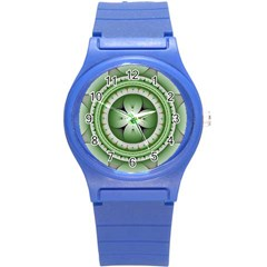 Fractal Mandala Green Purple Round Plastic Sport Watch (s)