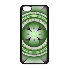 Fractal Mandala Green Purple Apple Iphone 5c Seamless Case (black)