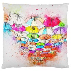 Umbrella Art Abstract Watercolor Large Cushion Case (two Sides)