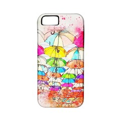Umbrella Art Abstract Watercolor Apple Iphone 5 Classic Hardshell Case (pc+silicone)