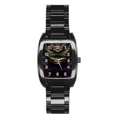 Fractal Colorful Pattern Fantasy Stainless Steel Barrel Watch