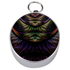 Fractal Colorful Pattern Fantasy Silver Compasses