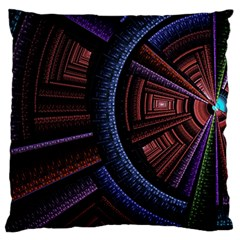 Fractal Circle Pattern Curve Large Flano Cushion Case (one Side)