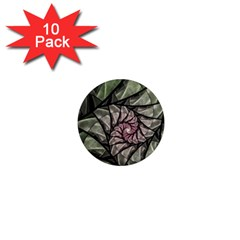 Fractal Flowers Floral Fractal Art 1  Mini Magnet (10 Pack)