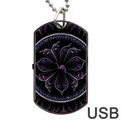 Fractal Abstract Purple Majesty Dog Tag Usb Flash (one Side)