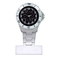Fractal Abstract Purple Majesty Plastic Nurses Watch