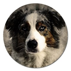 Dog Pet Art Abstract Vintage Magnet 5  (round)