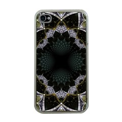 Fractal Aqua Silver Pattern Apple Iphone 4 Case (clear)