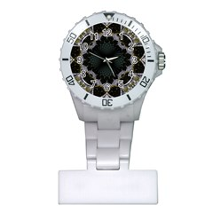 Fractal Aqua Silver Pattern Plastic Nurses Watch