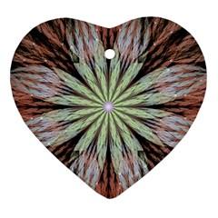 Fractal Floral Fantasy Flower Heart Ornament (two Sides)