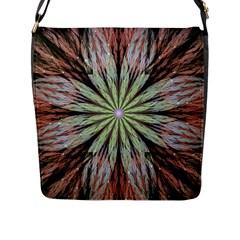 Fractal Floral Fantasy Flower Flap Messenger Bag (l)