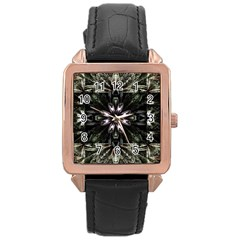 Fractal Design Pattern Texture Rose Gold Leather Watch