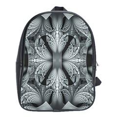 Fractal Blue Lace Texture Pattern School Bag (xl)