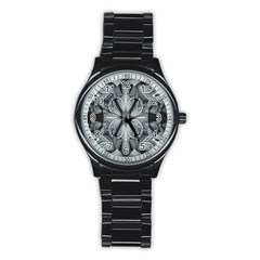 Fractal Blue Lace Texture Pattern Stainless Steel Round Watch