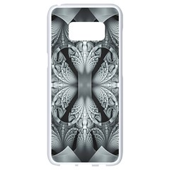 Fractal Blue Lace Texture Pattern Samsung Galaxy S8 White Seamless Case