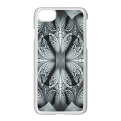 Fractal Blue Lace Texture Pattern Apple Iphone 8 Seamless Case (white)