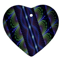 Fractal Blue Lines Colorful Heart Ornament (two Sides)
