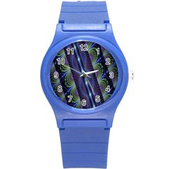Fractal Blue Lines Colorful Round Plastic Sport Watch (s)