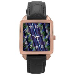 Fractal Blue Lines Colorful Rose Gold Leather Watch