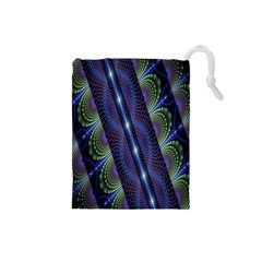Fractal Blue Lines Colorful Drawstring Pouches (small)