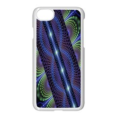 Fractal Blue Lines Colorful Apple Iphone 8 Seamless Case (white)