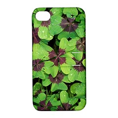 Luck Klee Lucky Clover Vierblattrig Apple Iphone 4/4s Hardshell Case With Stand