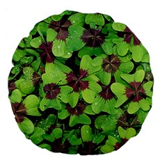 Luck Klee Lucky Clover Vierblattrig Large 18  Premium Flano Round Cushions