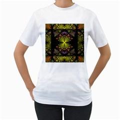 Fractal Multi Color Geometry Women s T Shirt (white)