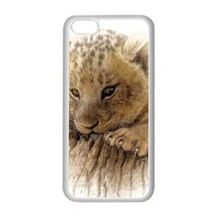 Lion Cub Close Cute Eyes Lookout Apple Iphone 5c Seamless Case (white)