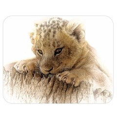 Lion Cub Close Cute Eyes Lookout Double Sided Flano Blanket (medium)