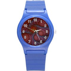 Fractal Red Fractal Art Digital Art Round Plastic Sport Watch (s)