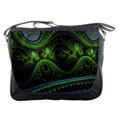 Fractal Green Gears Fantasy Messenger Bags