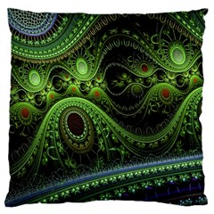 Fractal Green Gears Fantasy Large Cushion Case (one Side)