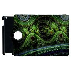 Fractal Green Gears Fantasy Apple Ipad 2 Flip 360 Case