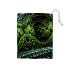Fractal Green Gears Fantasy Drawstring Pouches (medium)