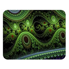 Fractal Green Gears Fantasy Double Sided Flano Blanket (large)