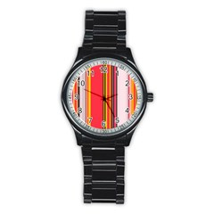Abstract Background Pattern Textile Stainless Steel Round Watch