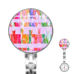 Watercolour Paint Dripping Ink Stainless Steel Nurses Watch