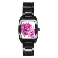 Orchid Phaleonopsis Art Plant Stainless Steel Barrel Watch