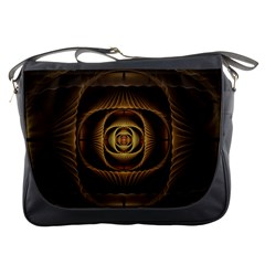 Fractal Copper Amber Abstract Messenger Bags