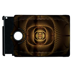 Fractal Copper Amber Abstract Apple Ipad 2 Flip 360 Case