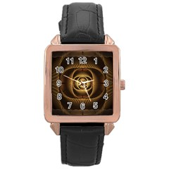 Fractal Copper Amber Abstract Rose Gold Leather Watch
